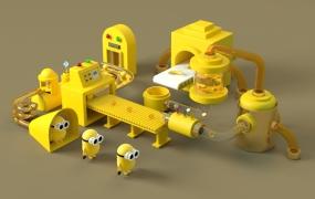C4D模型  卡通小黄人生产线场景C4D模型