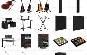 C4D模型 30组音乐功放音箱话筒喇叭钢琴电子乐器模型 含材质 含贴图