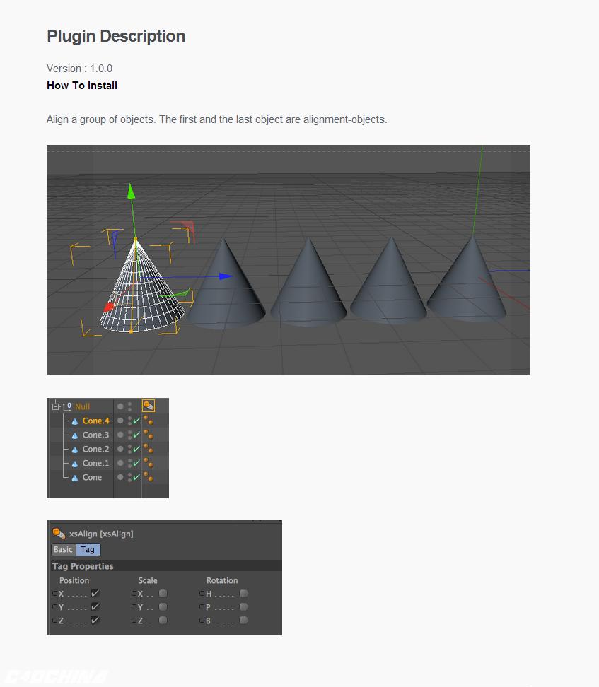 xsAlign 1 0 0 对齐插件- C4D爱好者的集结地