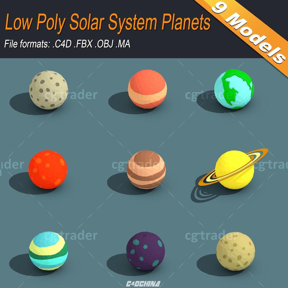 百汇 C4D模型 9个低多边形星球C4D模型C4D FBX OBJ MA/MB 有材质 C4D模型 095555ma9hzhfzkzfvqrip